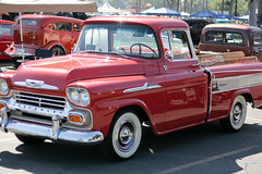 1957 chevrolet(0.0), chevrolet advance design(0.0), compact car(0.0), ford(0.0), sedan(0.0), chevrolet(1.0), automobile(1.0), automotive exterior(1.0), pickup truck(1.0), vehicle(1.0), truck(1.0), chevrolet task force(1.0), antique car(1.0), land vehicle(1.0), motor vehicle(1.0),