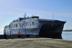 USNS Millinocket (JHSV 3) pulls into port in Honiara, July 10. (U.S. Marine Corps/Sgt. James Gulliver)
