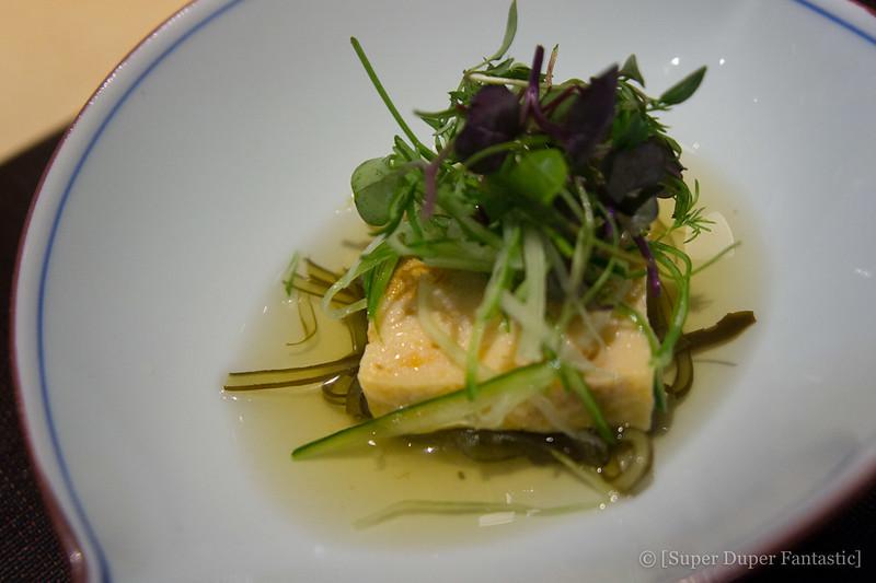 Omakase - Uni Fish Cake over Kombu