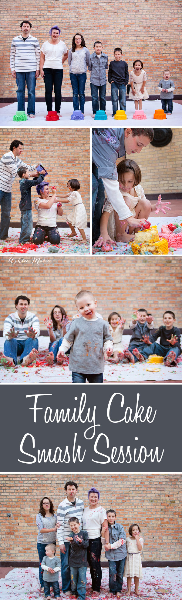 for a fun and unique family photosession we did a family smash cake session, each person got their own cake and we just went to town having and epic food fight with cake and frosting