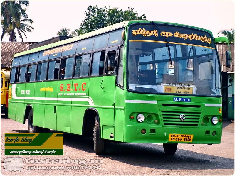 TN-01N-8899 of Salem Depot Route 724 Salem - Guruvayoor via Coimbatore, Palakkad, Thrissur.