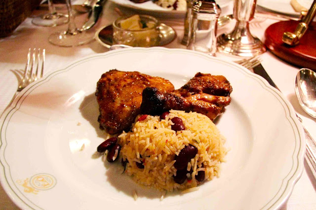 Main Course: Guests were able to choose between a Jerk Chicken or Beef Pepperpot. Each was served with Rice & Pigeon Peas and Vegetable Curry. This is the Jerk Chicken.