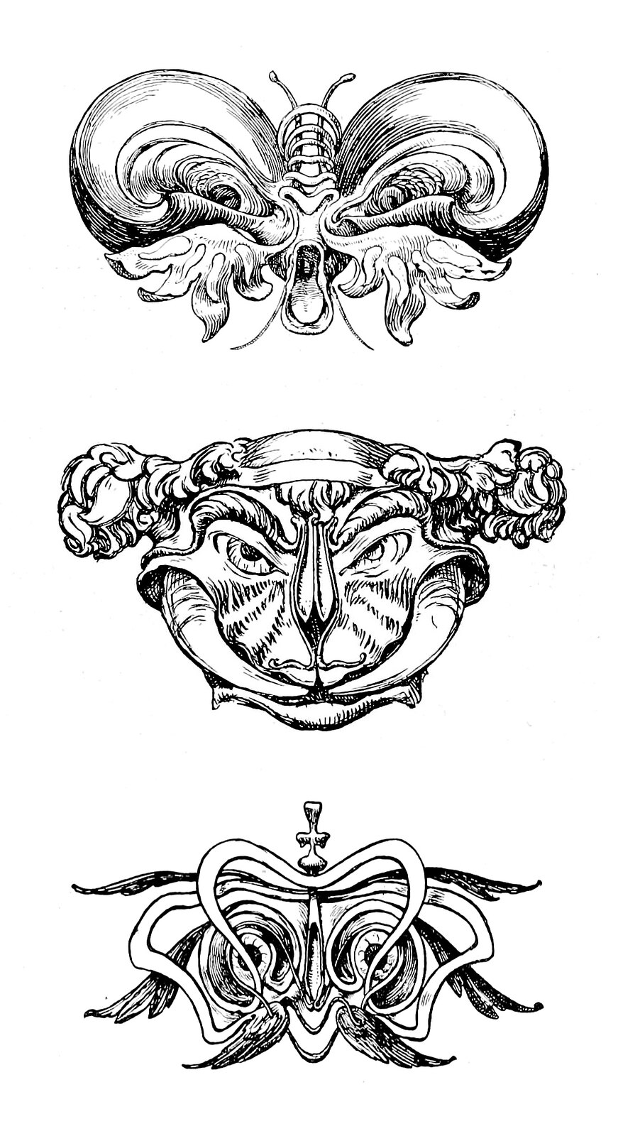 "Hans Tegner - Assortment of grotesque head illustrations (3) from ""Fairy tales and stories"" by Hans Christian Andersen, 1900"