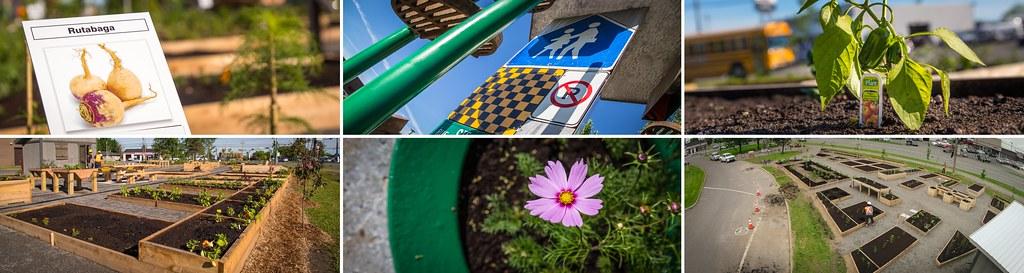 Montage de photos du Jardin des rendez-vous de Victoriaville