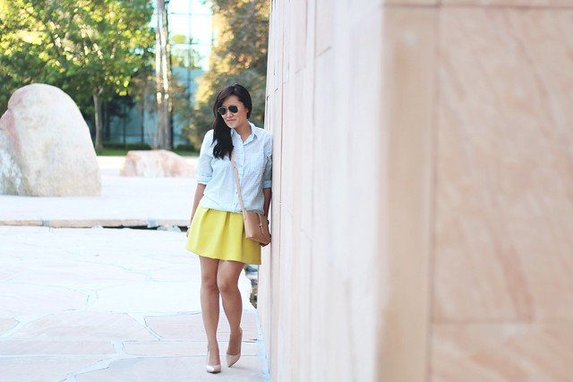 simplyxclassic, jcrew, crossbody, mint and yellow, gingham top, yellow skirt, outfit, ootd, mommy blogger, fashion blogger, style, orange county, lifestyle blogger