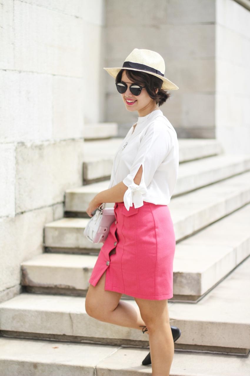 Look de verano con falda abotonada y gafas dior so real negras myblueberrynightsblog