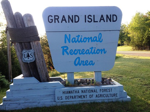 Grand Island National Recreation Area sign