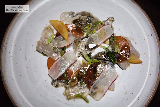 Madai crudo, charred scallion, plum, radish, lime