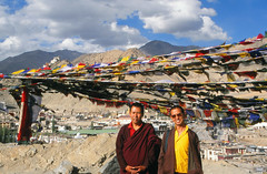 Monks & prayer flags, Leh