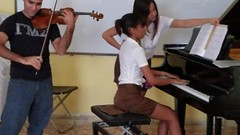Student duo at the famous Jose White Music Conservatory in Camaguey entertained us.