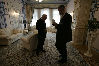 Vice President Cheney Talks with David Addington at the House of Chimeras in Kiev, Ukraine