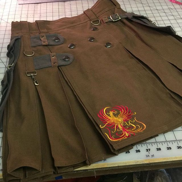 Military Alt Kilt with Phoenix embroidery and custom color