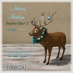 "[CIRCA] - ""Holiday Heritage"" - Festive Deer - Aqua & Silver"