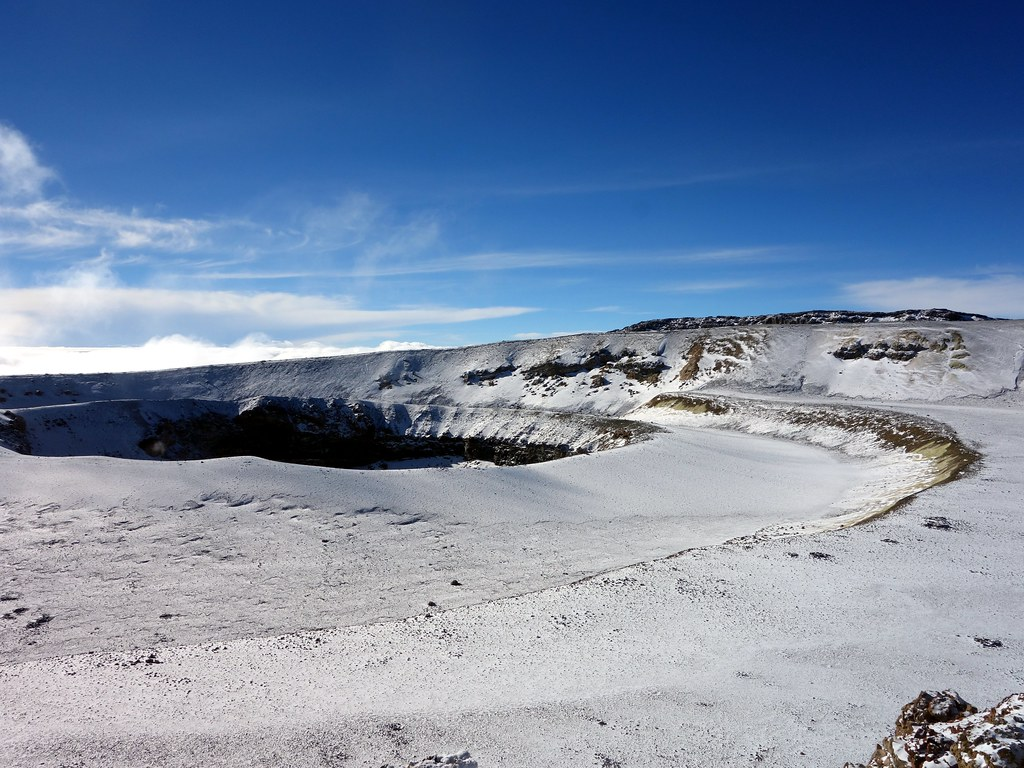 The Ash Pit and inner crater, with Uhuru Peak behind