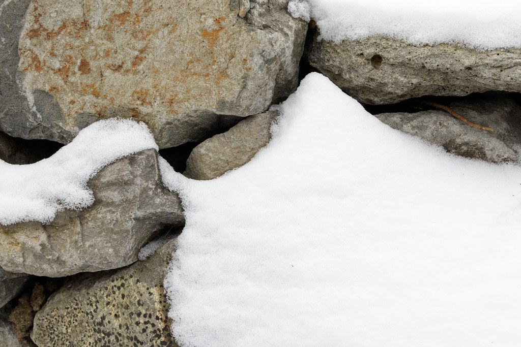 Snow-covered rocks