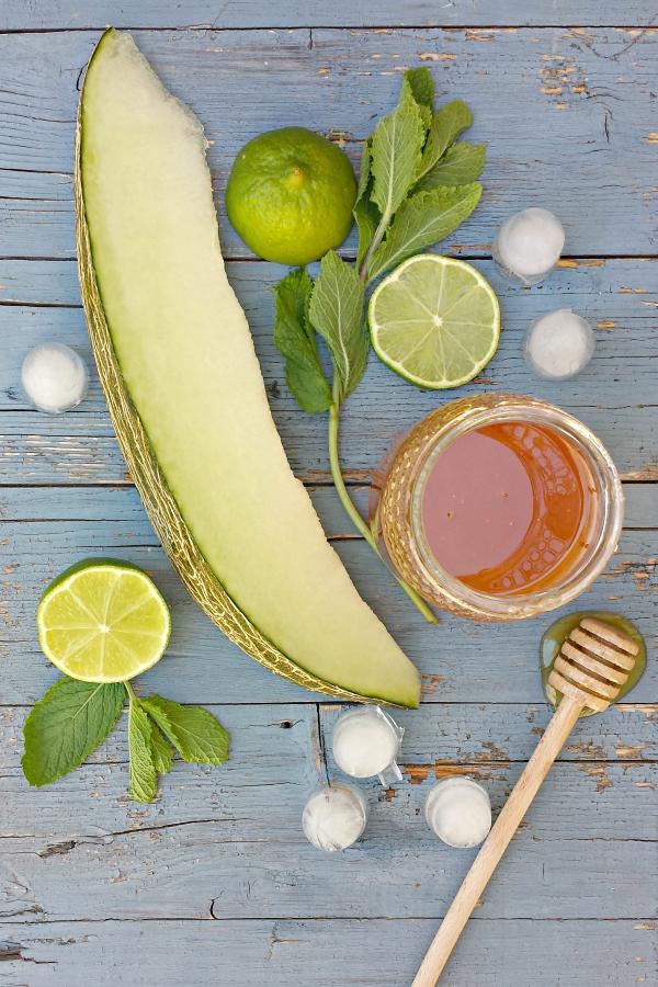 melón, hierbabuena, miel y lima