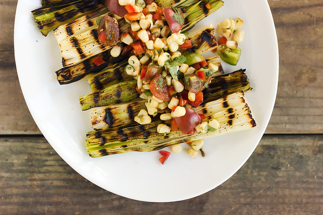 Grilled Leeks with Spicy Grilled Corn Salsa