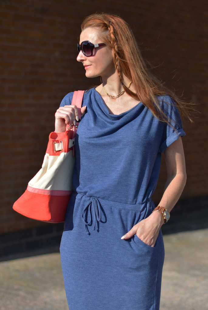 M&S blue tunic dress, colour block tote | Not Dressed As Lamb
