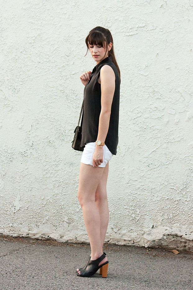 Everlane Silk Blouse, White Shorts, Black and White Outfit