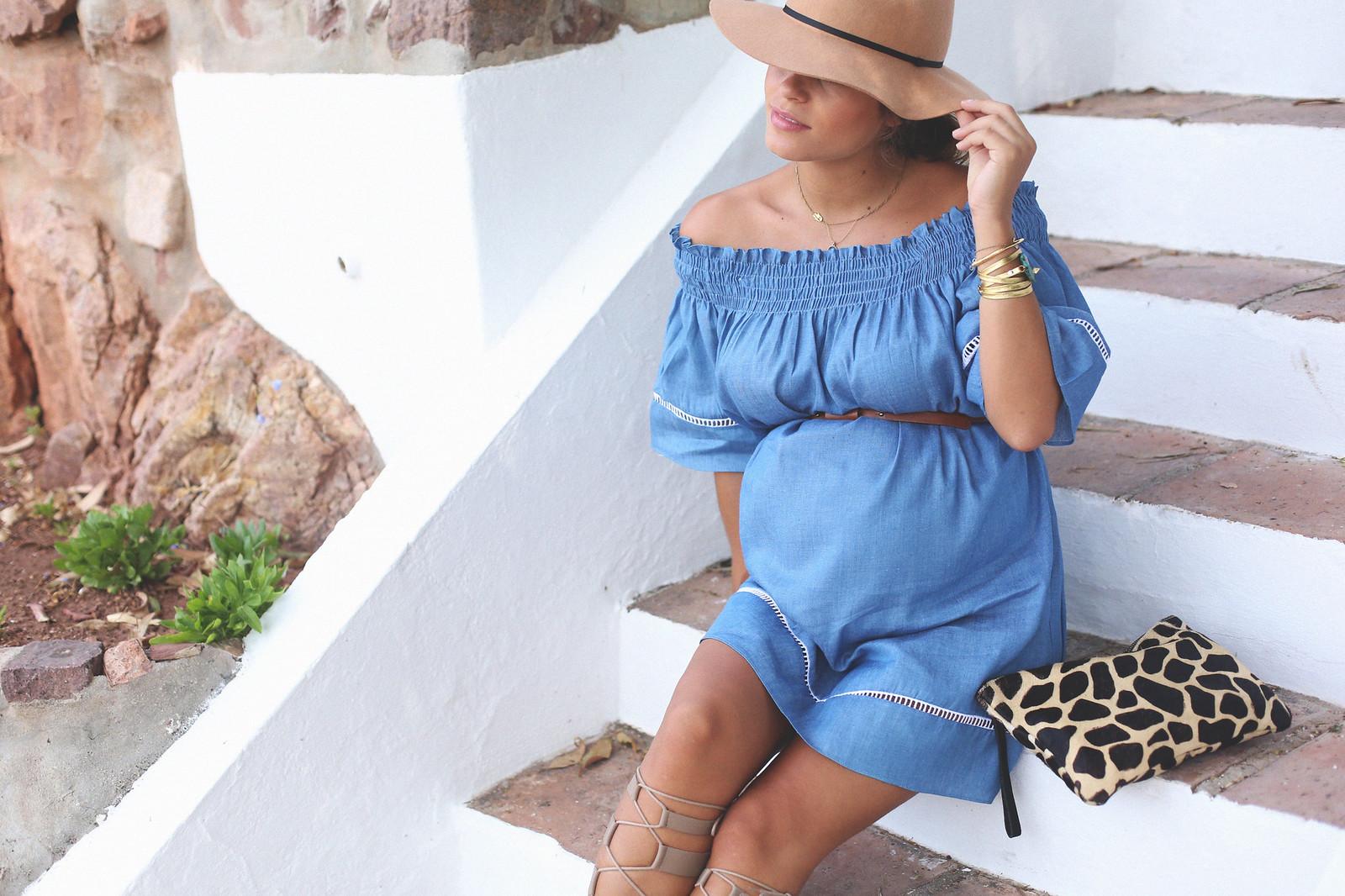 3. off shoulders denim dress - jessie chanes - pregnancy