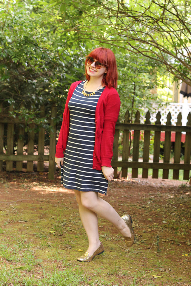 4th of July Outfit: Red Cardigan, Navy Blue Striped Shift Dress, and Sparkly Gold Glitter Flats