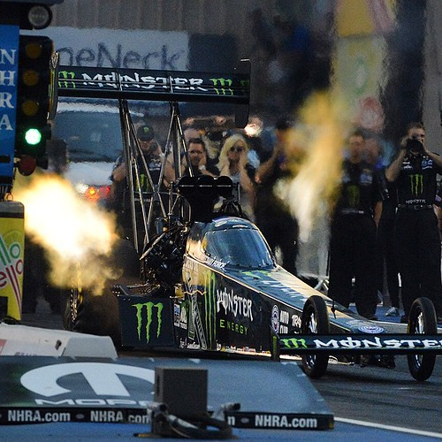 NHRA Top Fuel driver Brittany Force lights it up coming off the line and sets a new track record with a top speed of 323.74 mph on her first qualifying run of the 2015 Mopar Parts Mile High Nationals at Bandimere Speedway July 24, 2015. Follow @denverpost
