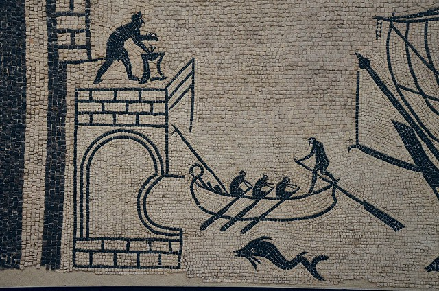 Mosaic depicting a scene from the harbour of Ariminum with illustration of different kinds of fish from the Adriatic, end of 2nd / 3rd century AD, Museo della Città, Rimini, Italy