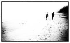 Footsteps on the Beach in Winter