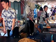#2173 yakisoba, sausages on chopsticks, and BEEF o…