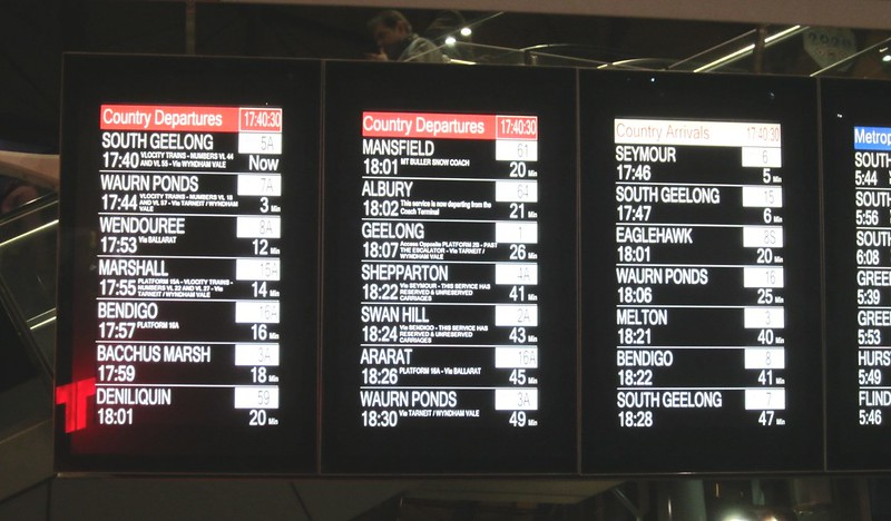 V/Line departures: Southern Cross, peak hour