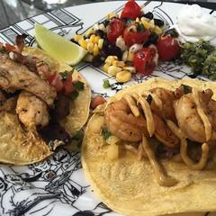 Taco Sunday Funday with friends! Shrimp, steak & chicken with fresh guacamole, spicy aioli, pineapple salsa and pico de gallo!