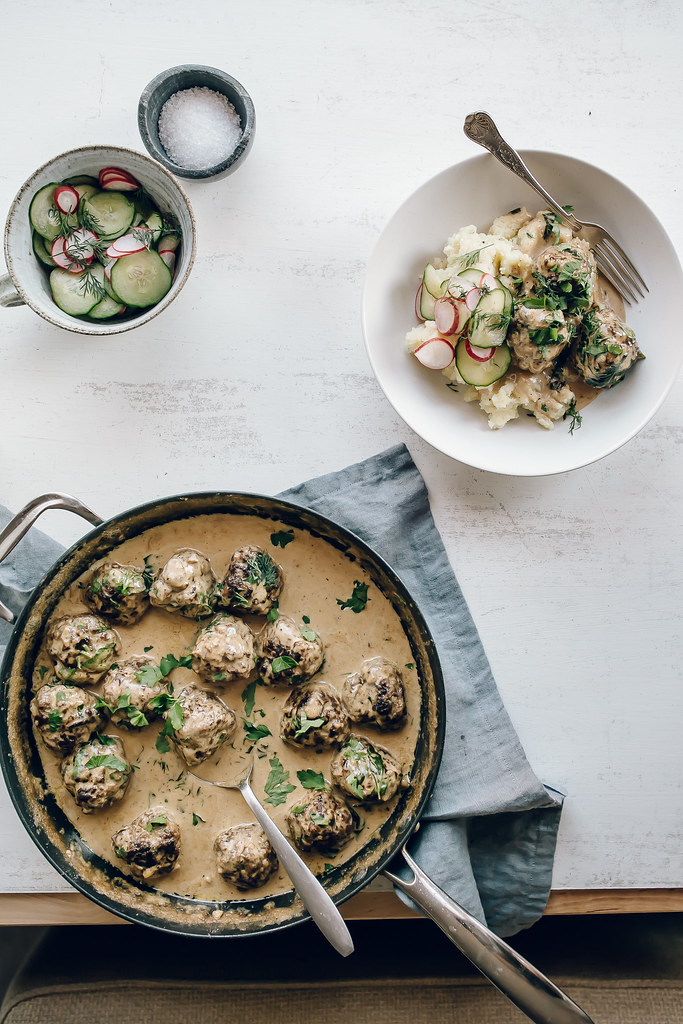 Swedish Meatballs with Cucumber & Radish Pickles