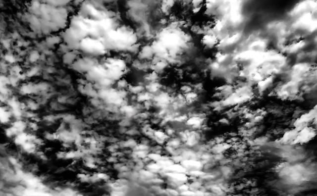 Crispy Black and White Sky with Clouds