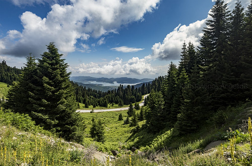 road sky lake mountains water clouds landscape altitude greece karditsa plastiras greekmountains plastiraslake limniplastira greeksky karamanoli