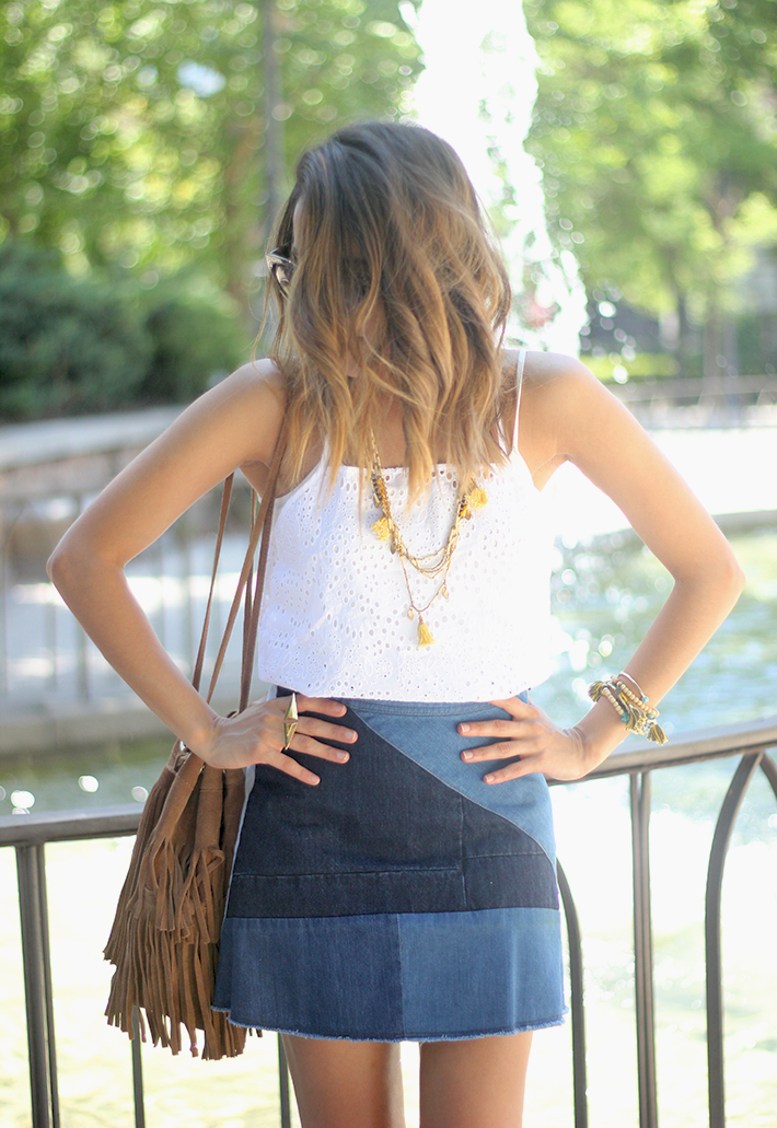 Denim Skirt White Top Outfit05