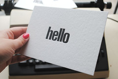 HELLO Letterpress flat cards set of 5pcs. Vintage wood type flat cards. Letterpress cards. Letterpress stationery