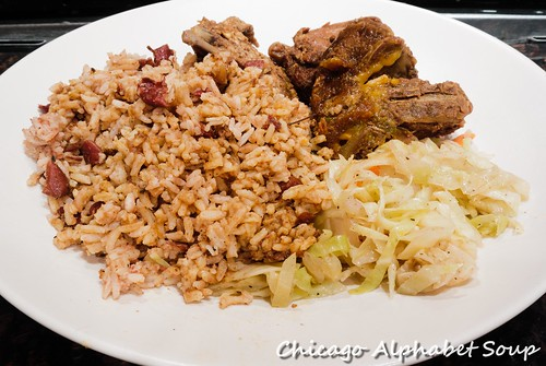 Mrs. Brown Stew Chicken, Rice and Beans, Cabbage