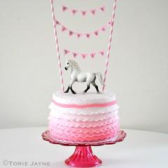 Gluten free pink frilled horse cake
