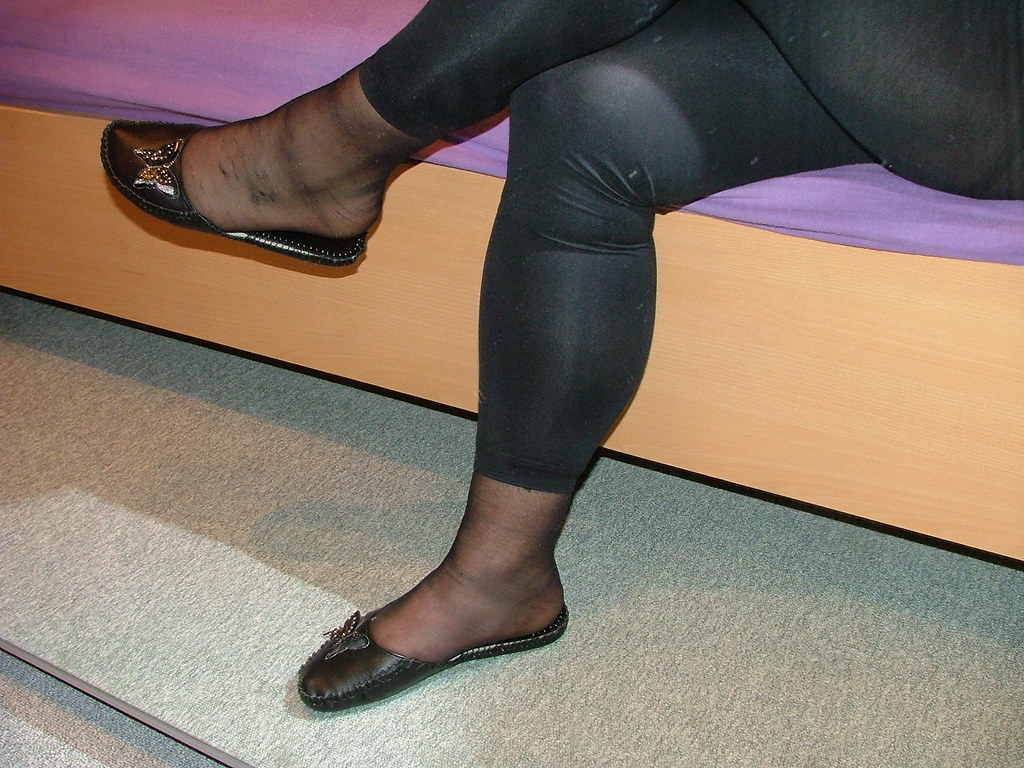 Leather Pants And Flat Shoes