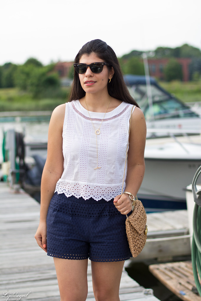 eyelet lace crop top and shorts, straw bag, white sandals.jpg