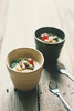 Matcha dusted soy milk panna cotta with nuts