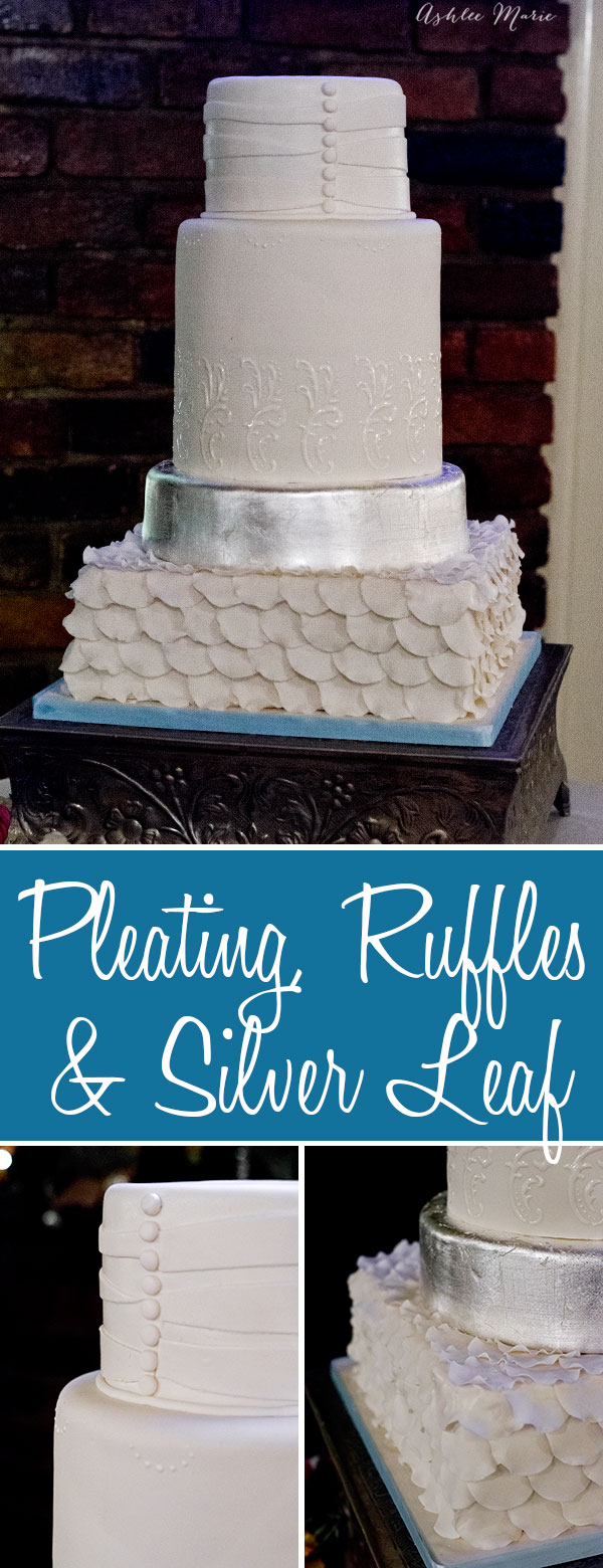 this wedding cake was design based on the brides dress - pleating, ruffles and lace. Add some silver leafing and you have an elegant wedding cake