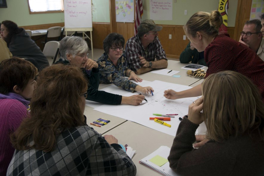 The Downtown Main Street Re-visioning project was a collaborative envisioning exercise between Seneca Towns Engaging in Solutions (STEPS), the people of the village of Ovid, and students from a Cornell University Design Connect team.