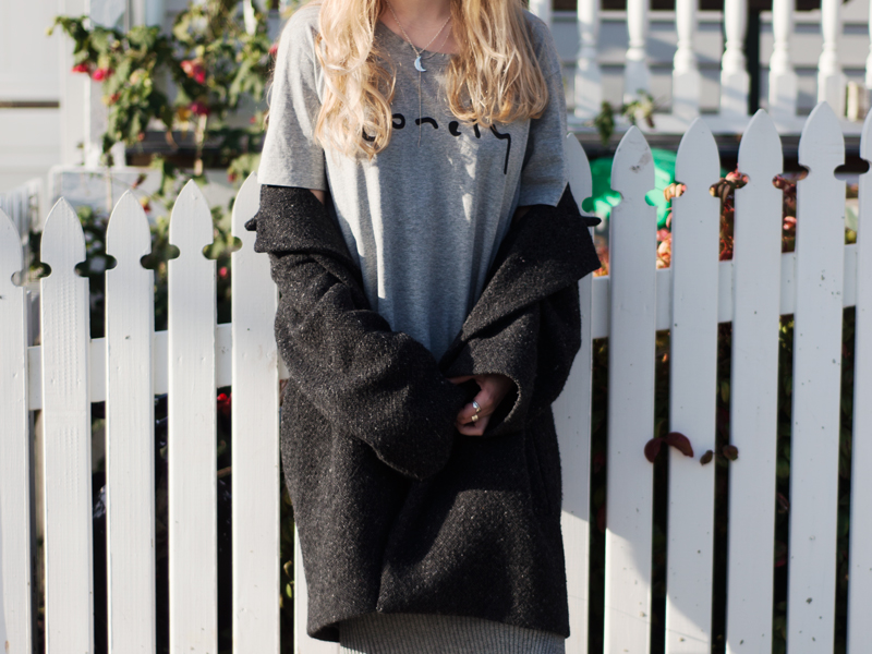 StolenInspiration.com | Kendra Alexandra | New Zealand Fashion Blog | Karen Walker Coat, Lonely Hearts Tshirt, Glassons Skirt and Topshop Sneakers