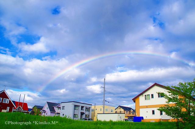 「今年の初虹@キッチンの窓から」