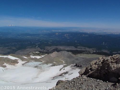 Looking down the Elliot Glacier toward the Columbia River Valley from the Cooper Spur Trial, Mount Hood National Forest, Oregon