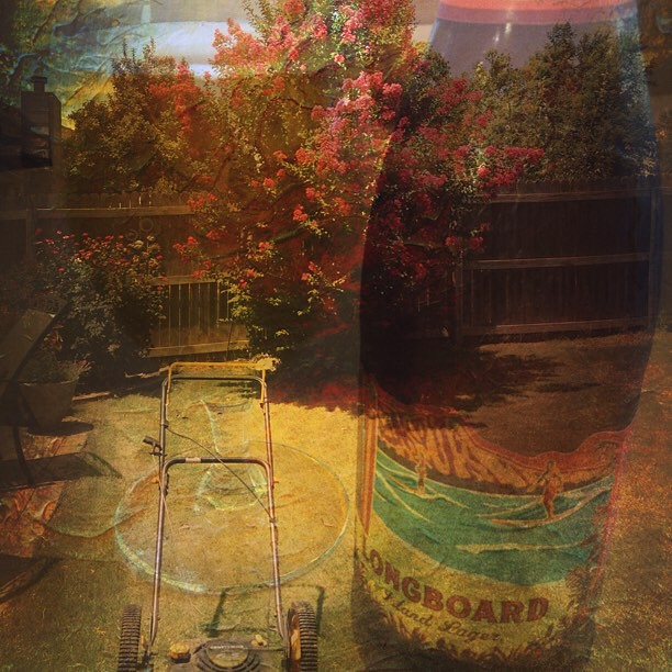 Crushing #KonaBrewing #Longboard #Lager after three hours of yard work under the hot #Oklahoma sun. #DoubleExposure #CraftBeer #Beer #DianaPhotoApp #DianaPhoto #DoubleExposure #Diana #photoApp #myEdit #like #camera #vintage #art #insta #instaphoto #nofil