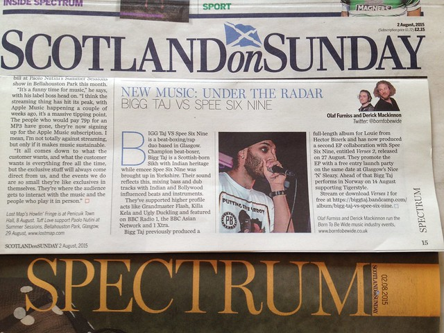 Olaf Furniss and Derick Mackinnon Scotland On Sunday, Spectrum Magazine, 2 August 2015, Bigg Taj VS Spee Six Nine