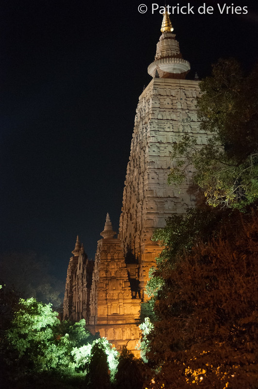 Mahābodhi temple by night