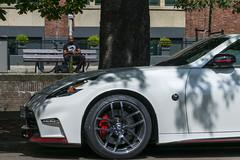 nissan gt-r(0.0), automobile(1.0), automotive exterior(1.0), wheel(1.0), vehicle(1.0), automotive design(1.0), nissan 370z(1.0), rim(1.0), bumper(1.0), land vehicle(1.0), luxury vehicle(1.0), sports car(1.0),